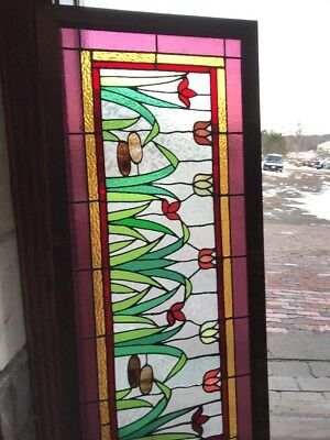 Sg 1832 Antique Tulip Patch Transom Window 21 High By 40 7W