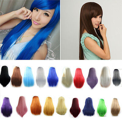 """Women Black 31.5"""" Long Cosplay Party Wigs Heat Resistant Full Straight Hair Wig"""