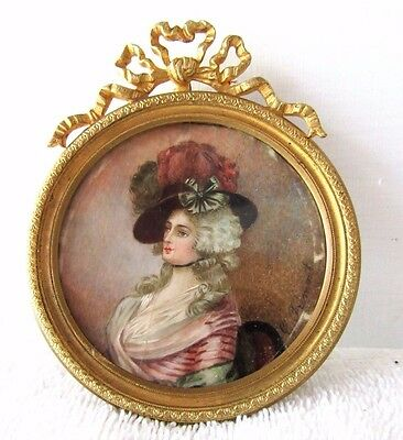 Antique Miniature French  Hand Painted Portrait Ivory Gilt Frame 1880 Signed