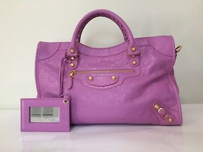 c5fb835addb Balenciaga Pink Lambskin Leather Giant 12 Golden City Motocross Satchel Bag