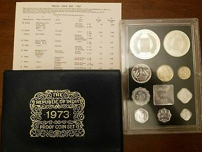 1973 Republic of India Proof Set 10 Coins W/ Sleeve & COA