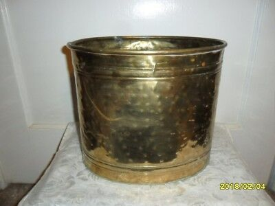 "Old Vintage Large Hammered Brass Planter - 9.5"" Tall x 11"" Wide - Some Corrosion"