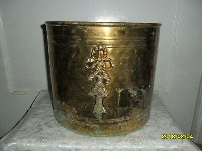 """Vintage Large Hammered Brass Planter - 9.5"""" Tall x 11"""" Wide - India"""