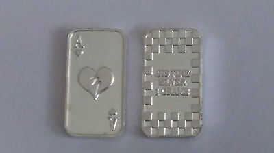 Ace of Hearts 1 Gram 1g Solid Silver Bullion Bar .999 Purity