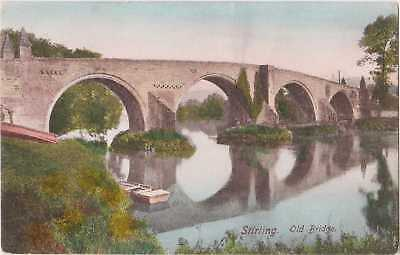 POSTCARD Firth's Stirling Old Bridge Antique 1905 Collotype Hand Colour 44701