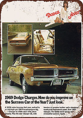 """7"""" x 10"""" Metal Sign - 1969 Dodge Charger - Vintage Look Reproduction"""