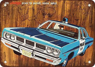 """7"""" x 10"""" Metal Sign - 1969 Dodge Police Cars - Vintage Look Reproduction"""