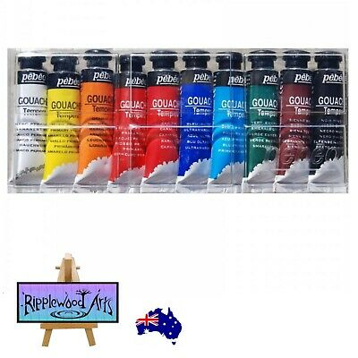 Pebeo Gouache Tempera Paint - Set of 10 x 10ml Tubes in Hard Clear Plastic Case