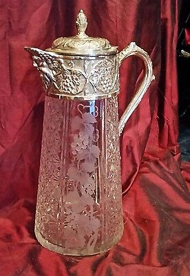 Antique HAND etched&cut  glass claret LARGE AND HEAVY  Bacchus