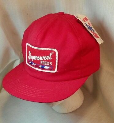 Vintage SUPERSWEET FEEDS Trucker Winter Hat Ear Flaps Patch Red New Old Stock