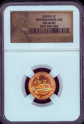 2009-D Professional Life Lincoln Cent Grade MS66 RED by NGC..