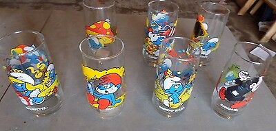 set of 7 Smurf character glasses peyo