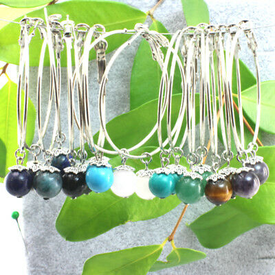Silver Plated 45 mm Thin Hoop Earrings With Dangling Gemstone 8 mm.
