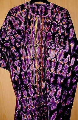 Unique West African Embroidered Top Tye & Dye Men's ~ Purple Mix~Fast P&P!