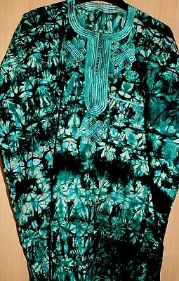 Unique West African Embroidered Top Tye & Dye Men's ~ Green Mix~Fast P&P!
