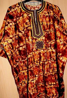 Classic West African embroidered top batik tye & dye Men's  Brown Mix~Fast P&P!