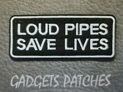 Loud Pipes Saves Lives Biker Harley Davidson Motorcycle Vest Patches Iron Sew On