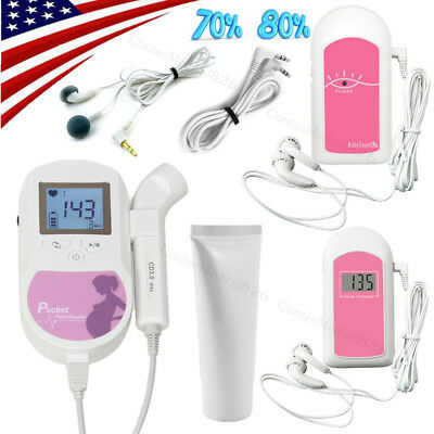 US Seller,Pocket Fetal Doppler,LCD Prenatal Heart Monitor,Baby Monitor,Free Gel