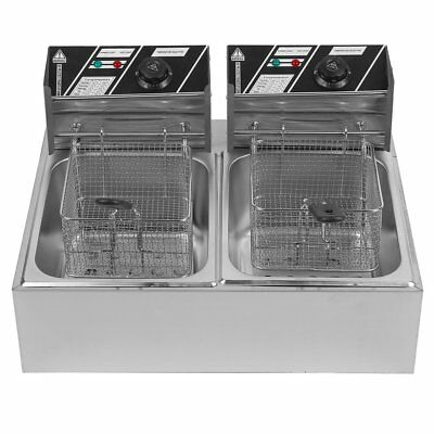 20L Dual Tanks Electric Deep Fryer Commercial Tabletop Fryer +Basket Scoop 5KW B