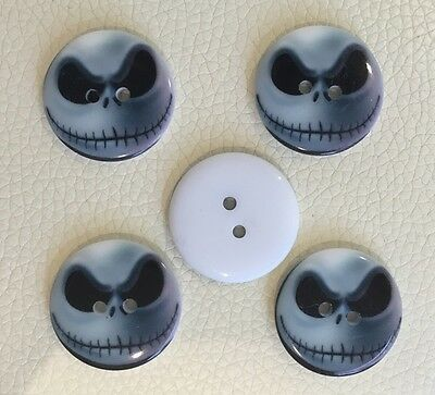 5 X NIGHTMARE BEFORE CHRISTMAS Jack Resin Buttons 23mm