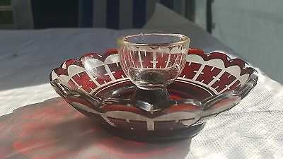 Bohemian mid Victorian ruby flash and cut egg cup and plate holder spa glass