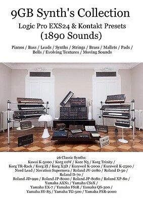 9GB Synth Collection For Kontakt / EXS24 Preset / 26 Classic Synths - 1890 NKI