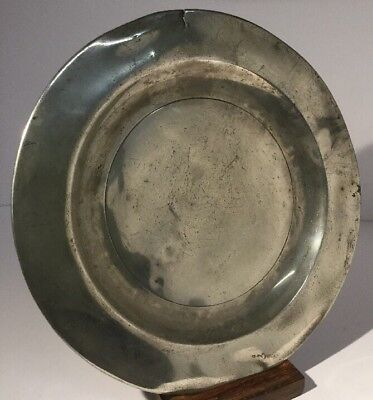 "Antique 18th Century Pewter Plate London 9"" #1 London Touch Marks"