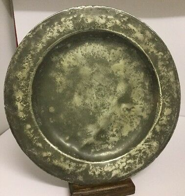 "Antique Pewter Plate c1790 London 10"", 18th Century. London Touch Marks"