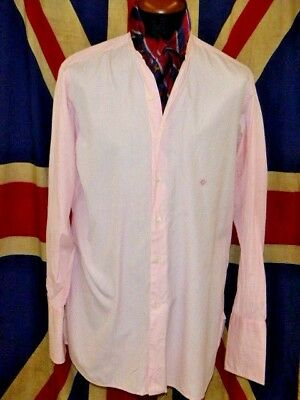 vintage shirt collarless banded grandad bespoke pink white stripe cotton 16""