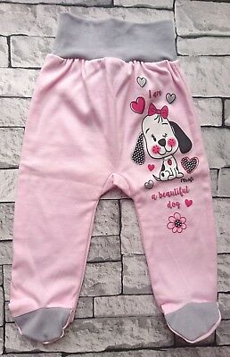 """NEW """"Sweet Puppy"""" Baby Girls Trousers with feet *100% Cotton **SIZE: 6-9 Months"""