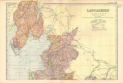 1895 Antique Map - Lancashire North And South, 2 Maps, Manchester,Liverpool