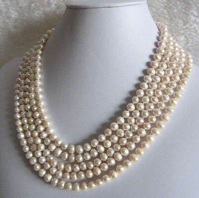 New classic fashion 7-8mm AA 100% natural White Pearl lady's Necklace 100inch
