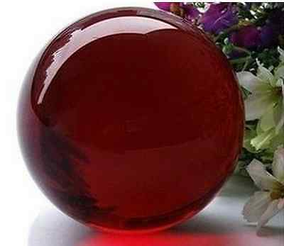 Asian Rare Quartz Dark Red Magic Crystal Healing Ball Sphere 40mm+Stand #ZKY5