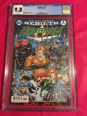 AQUAMAN 1 CGC 9.8 Rebirth Walker Abnett Hennessey Justice League 2016