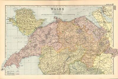 1895 Antique Map - Wales, North, Central And South, 3 Maps