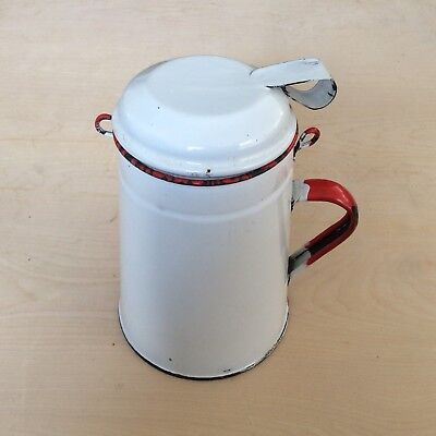 Old enamel milk JUG Urn CADDY vintage MILK JUG with Lid