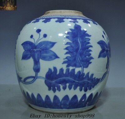 Old China Blue & White porcelain Morning glory Flower Bottle pot jar Crock Tank