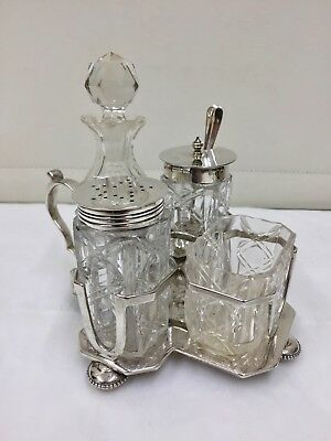 Antique Solid Sterling Silver 4 Bottle Cruet