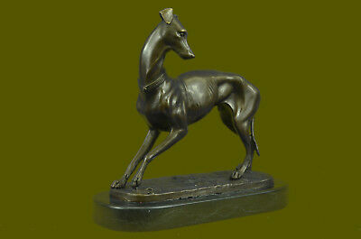 Vintage Art Deco Bronze Serpentine Greyhound Black Marble Base Desk Decor Gift