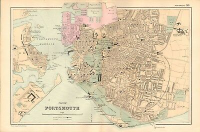 1895 Antique Map - Plan Of Portsmouth