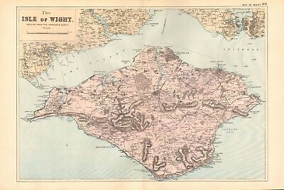1895 Antique Map - Isle Of Wight
