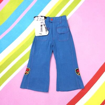 70s Kids Light Blue Flares Bell Bottoms Vtg Trousers Age 2 3 Denim Nayytex Child