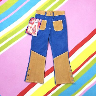 70s Vtg Kids Denim Flares Bell Bottom Cotton Jeans Blue Tan Age 6 7 Trousers