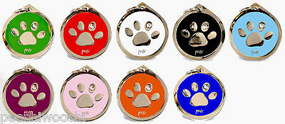 Quality Poochiwoochi Personalised Pet Dog Cat ID Collar Tags Discs PAW Design