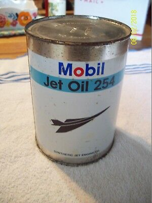 Vintage can of Mobil Jet Oil 254 Full & never opened