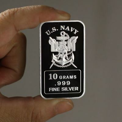 "10 grams .999 Fine Silver Bar, ""U.S. Navy"" design!,  NEW! A Must have! Military"