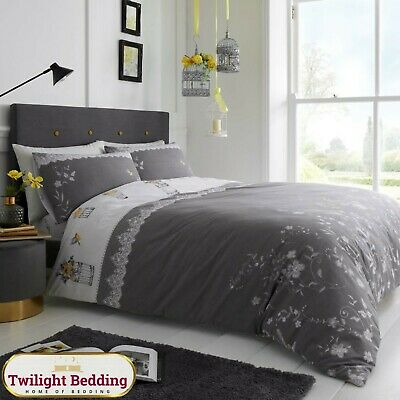 New Soft & Cosy Birdie Blossom Duvet Cover Bedding Set & Matching Pillow Covers