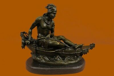 Signed Bow Hunter Warrior Canoe Native American Indian Art Bronze Marble Statue