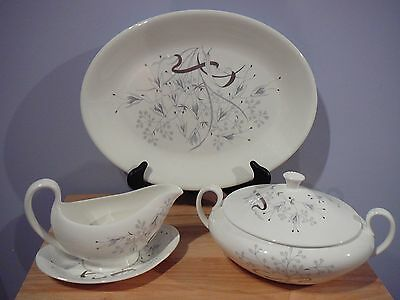 "WEDGWOOD OVAL PLATTER 15"" + COVERED VEGETABLE + GRAVY BOAT & PLATE ""Wild Oats"""