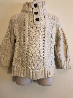 Baby Gap Toddler Boy size 2T Cable Knit Fisherman Mock neck Sweater Euc